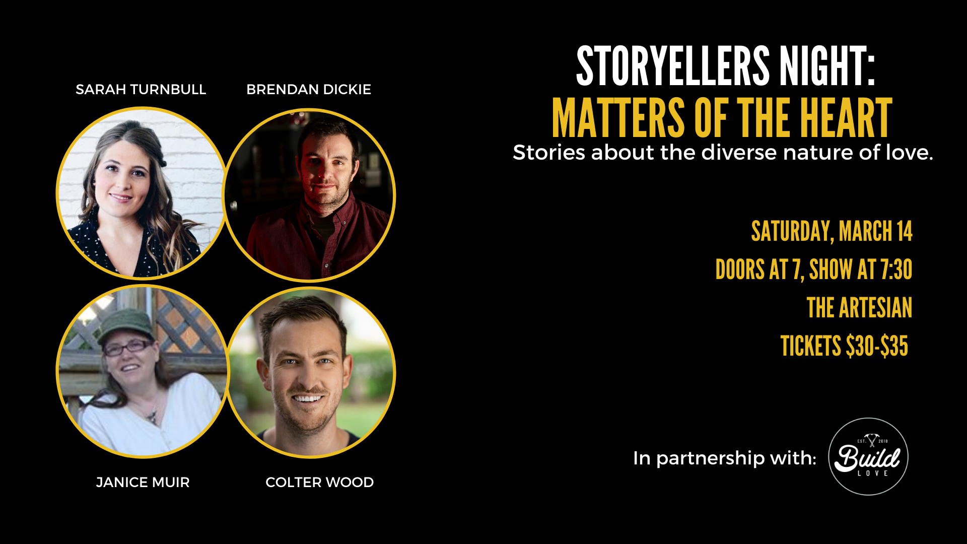 POSTPONED - Storytellers Night: Matters of the Heart - Stories about the diverse nature of love.