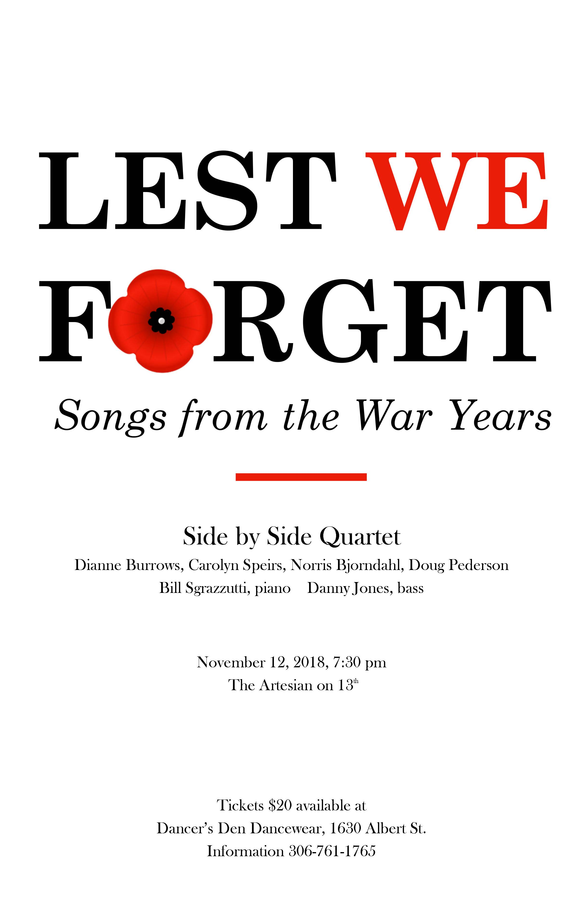 Lest We Forget - Songs From the War Years - November 12, 2018